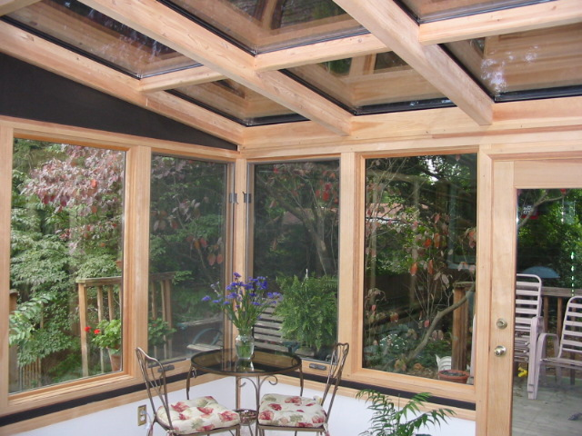 Straight Eave Wood Glass Roof Design with solid trapazoids