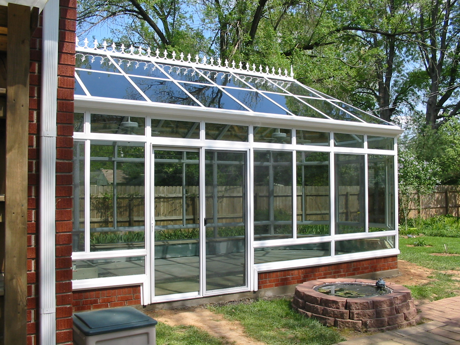 Victorian Conservatory Aluminum Glass Roof Design White with glass transoms and kickpanels