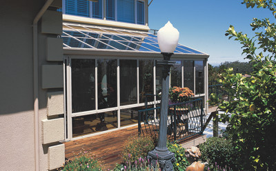 Straight Eave Glass Aluminum Roof Design White with Glass Kickpanels-