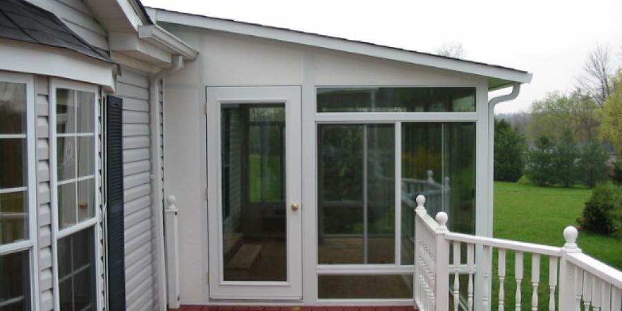 White interior and exterior with Swing Door, glass transoms & kickpanels