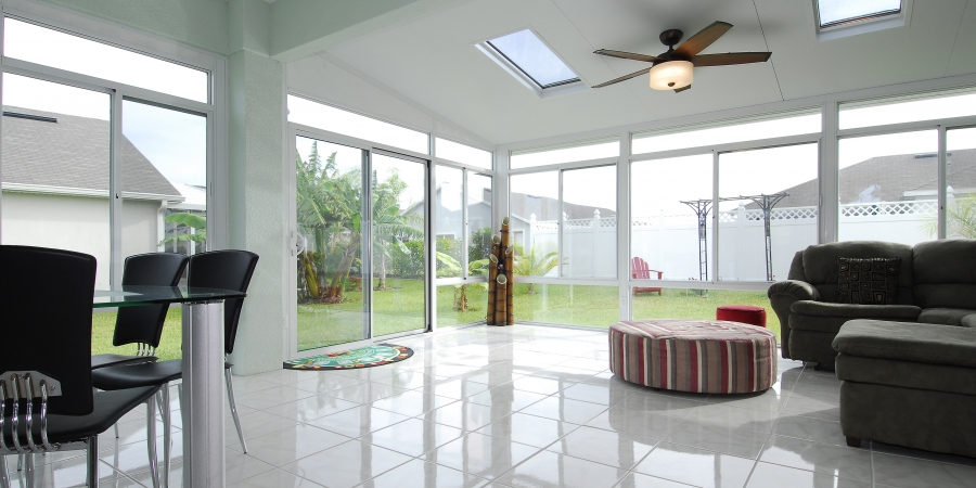 White interior and exterior with Skylights and glass kickpanels