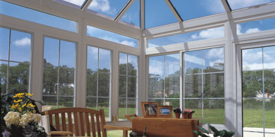 White interior and exterior glass kickpanels and transoms