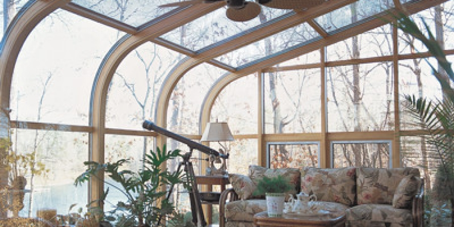Northern White Pine interior with awning windows
