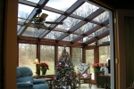 Straight Eave Wood Glass Roof Design with Glass trapezoids and swing door