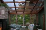 Straight Eave Wood Glass Roof Design Northern White Pine interior and white exterior