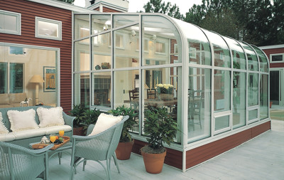 Curved Eave Wood Glass Roof Design White exterior Northern white pine interior with awning windows